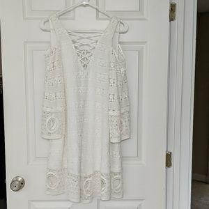 White lace Boho cold shoulder dress